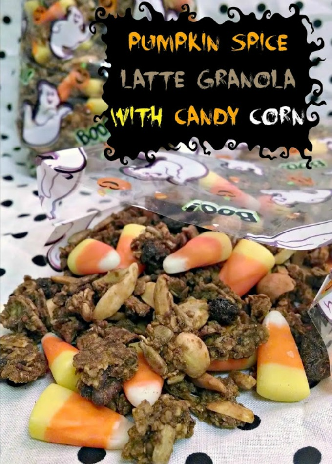 Did you BUY extra so you had left over candy?  Left over candy corn pumpkins and a bag of candy corn inspired me to make Pumpkin Spice Latte Granola with Candy Corn.