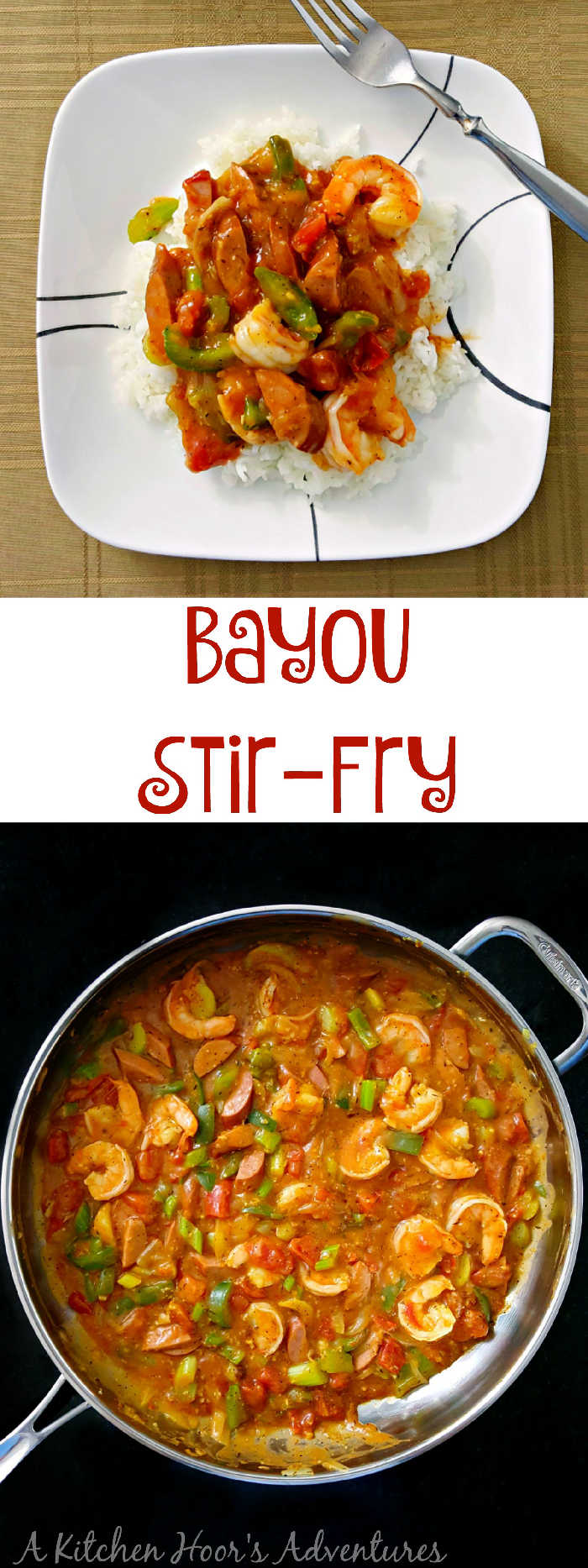 Tender shrimp are sautéed with kielbasa and vegetables and served up like a stir-fry with a delicious sauce and fragrant rice. Bayou Stir-Fry has Cajun spice with a rich stir-fry style sauce.