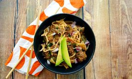 Tex-Mex Pad Thai mashes spicy taco beef with Thai rice noodles makes for an amazing and quick weeknight meal that your family will love.