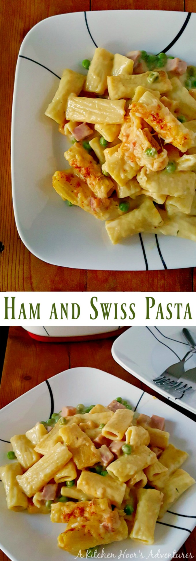 My fave, comfort food sanwich is turned into a delicious comfort food pasta casserole.  Ham and Swiss Pasta has all the flavors of the sandwich in an easy casserole that's sure to please the whole family.