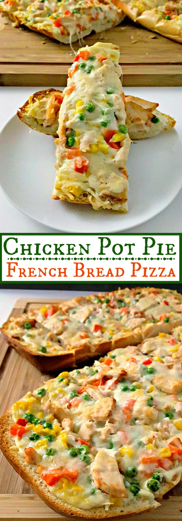 Inspired by a pie event, this Chicken Pot Pie French Bread Pizza is a mash up two comfort foods.  It's super quick and easy to make for any night of the week.