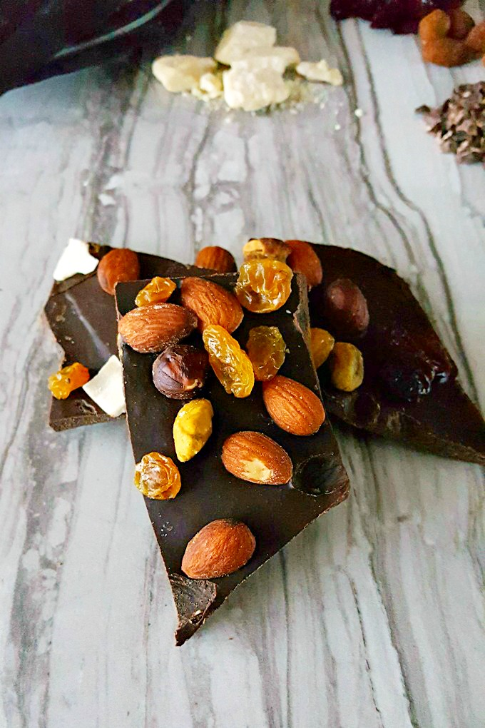 This Homemade Chocolate Energy Bark is the perfect afternoon snack filled with heart healthy almonds, dried fruit, and delicious homamde chocolate. Homemade chocolate is not easy, but you can make it as dark and as sweet as you want. #Choctoberfest #ad
