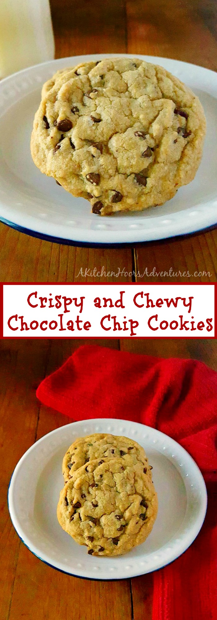 Perfectly crispy on the edges and chewy in the middle, these Crispy and Chewy Chocolate Chip Cookies are the go to favorite in our house and I know it will be in yours.