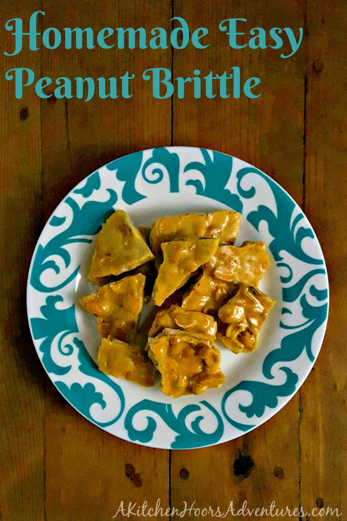 Made in the microwave and literally takes minutes to make, this Homemade Easy Peanut Brittle is my new favorite, quick and easy, Homemade Food Gift. #SundaySupper