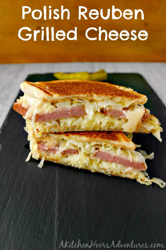 Swap out your corned beef for delicious kielbasa and you've got a different take on a classic. Polish Reuben Grilled Cheese is delicious and easy to make any day of the week. #GrilledCheese