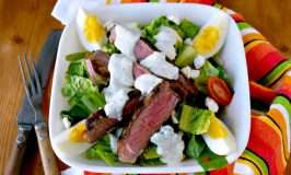 This Grilled Greek Steak Salad with Greek Goddess Dressing is full of delicious oregano, garlic, and rosemary flavors, delicious steak, and cool salad. Perfect for summer! #SundaySupper