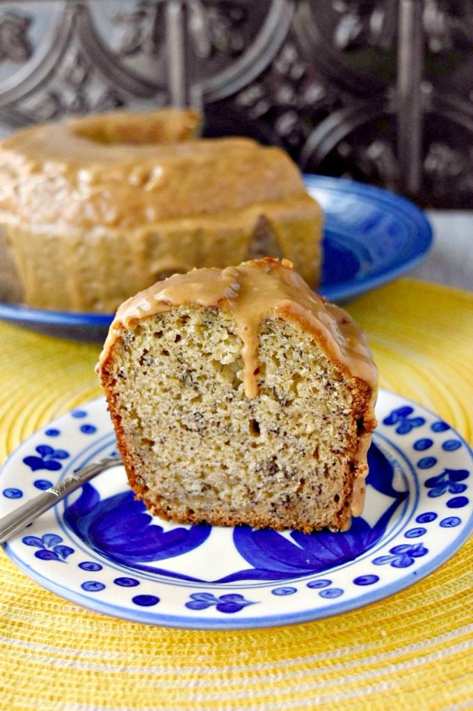 Your picnic guests will not be able to get enough of this Banana Snack Cake with Peanut Butter Glaze.