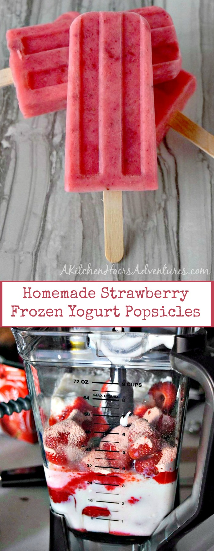 Fresh, in season strawberries, creamy yogurt, and sweet honey combine to make these summery Homemade Strawberry Frozen Yogurt Popsicles. #FreakyFridayRecipes