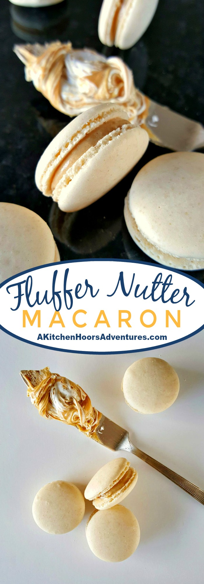 A childhood favorite becomes an adult favorite. These Fluffernutter Macaron taste like the fun sandwich in an elegant macaron. #peanutbutterrecipe #peanutbutterday #peanutbutter #macaron #macaronrecipe