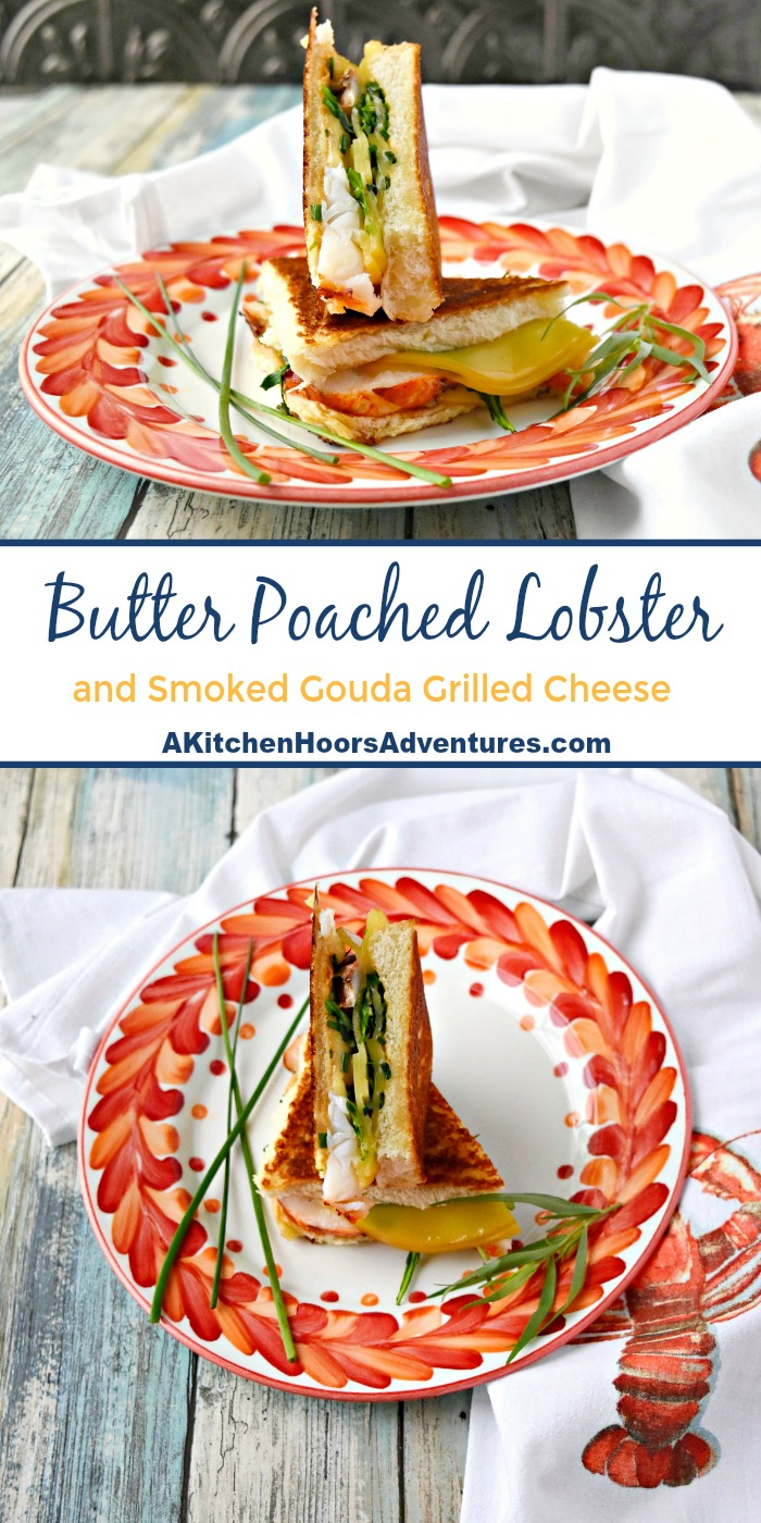 Yes, you read that right!  We never lie when it comes to lobster!  This is a Butter Poached Lobster Tail and Smoked Gouda Grilled Cheese Sandwich.  It's a rich, delicious, and totally grown up grilled cheese sandwich.