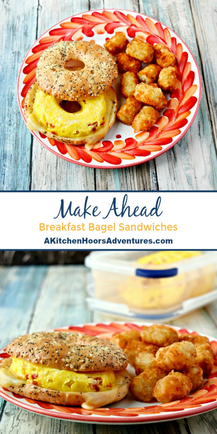 It took minutes to whip up these Make Ahead Bagel Sandwiches.  They're a perfect way to start the day off right with a hearty and delicious breakfast sandwich. #makeahead #breakfastsandwich #sandwichrecipe #SundaySupper
