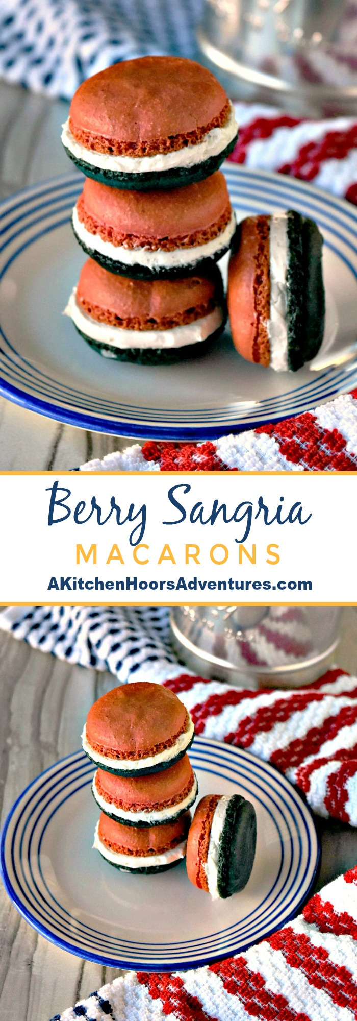 Berry Sangria Macaron has all the flavor of the drink that shares it's name.  These macaron have strawberries and blueberries in the shells and white wine buttercream in the middle.  They're have great sangria flavor in a delicate cookie. #macaron #sangria