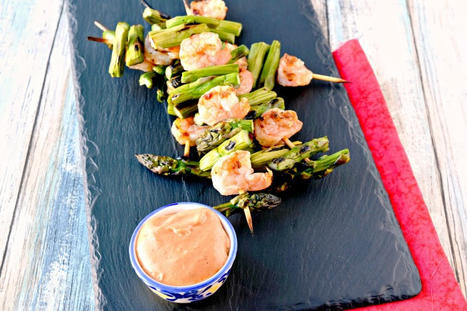 Grilled Shrimp and Asparagus with Bang Bang Sauce