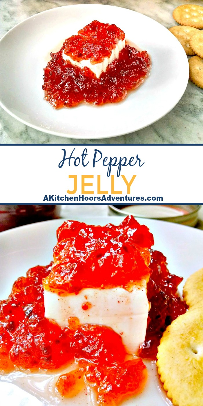 Nana's recipe for Hot Pepper Jelly is a staple in our house.  It's easy to prepare and oh so delicious with cream cheese and ritz crackers.