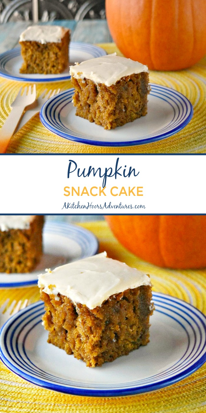 Who says pumpkin is only for fall!  Try this moist and delicious Pumpkin Snack Cake topped with a tangy cream cheese frosting for brunch, breakfast, or just because!