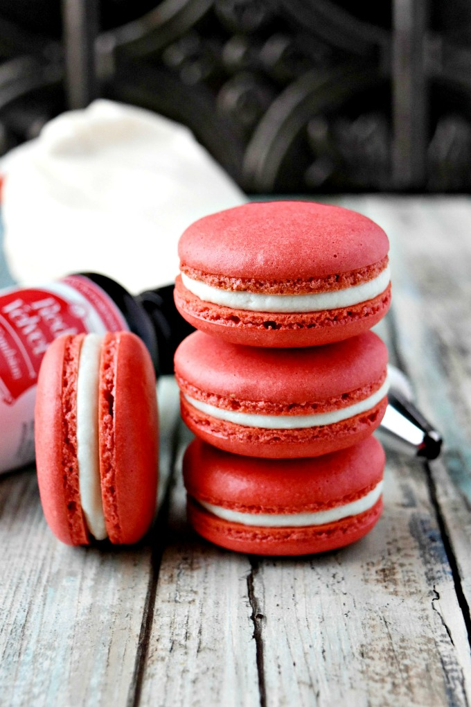 Red Velvet Cake Macaron with cream cheese buttercream