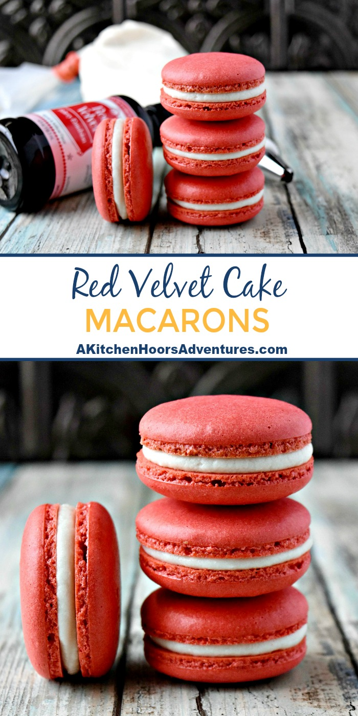 With amazing flavor, these Red Velvet Cake Macaron are the perfect way to show your mom how much you love you!  Crispy on the outside and deliciously chewy inside, macaron are not impossible.  If you can weigh and whip, you're all set! #BrunchWeek #macaron #redvelvetcake #buttercream #ad
