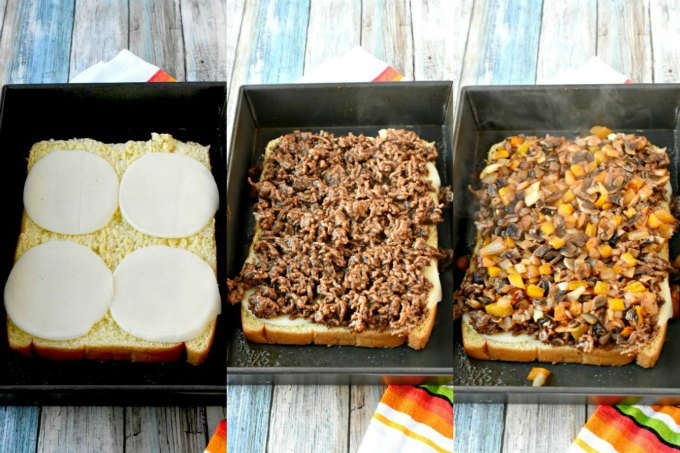 Delicious Certified Angus Beef ® brand ground beef is topped with sweet peppers, onions, and earthy mushrooms before being topped with Provolone cheese and baked.  Philly Cheese Steak Sloppy Joe Sliders are a combination of family friendly sloppy joes in a fun to eat pull apart slider recipe.