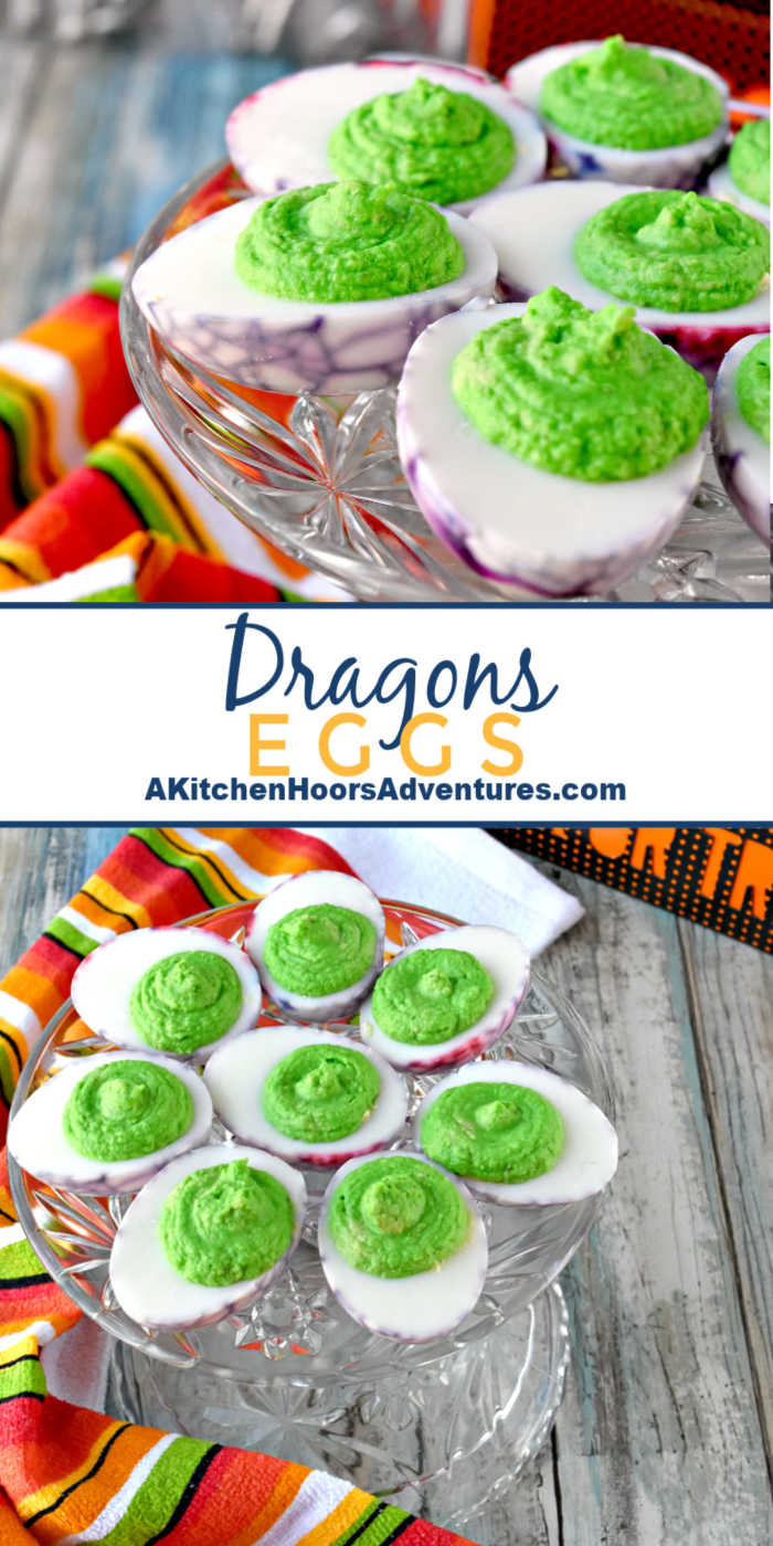 Simple deviled eggs are turned into a fun and delicious Halloween party appetizer. Dragons Eggs are avocado deviled eggs with a kick of garlic making them creamy with a spicy garlic kick. #HalloweenTreatsWeek