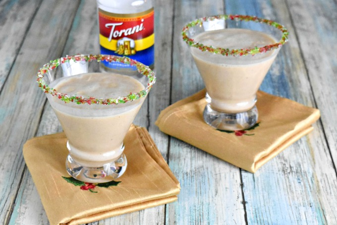 The flavors of cococnut in this Puerto Rican eggnog makes is divine!  I took the traditional Puerto Rican Coquito and added a twist of Torani in place of the sweetened condensed milk. #ChristmasSweetsWeek