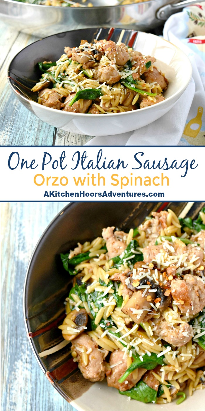 A delicious and easy skillet meal, this One Pot Italian Sausage Orzo with Spinach is packed with flavor!  Full of tasty orzo pasta, hearty turkey Italian sausage, and tender spinach it's a meal that can be cooked up easily any night of the week.