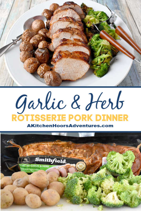 A simple meal of rotisserie roasted pork loin, potatoes, and broccoli all made in the air fryer. Garlic & Herb Rotisserie Pork Dinner is really flavorful and real fast to make. Made with Smithfield® marinated fresh pork, it's our new family favorite! This shop has been compensated by Collective Bias, Inc. and its advertiser. All opinions are mine alone.