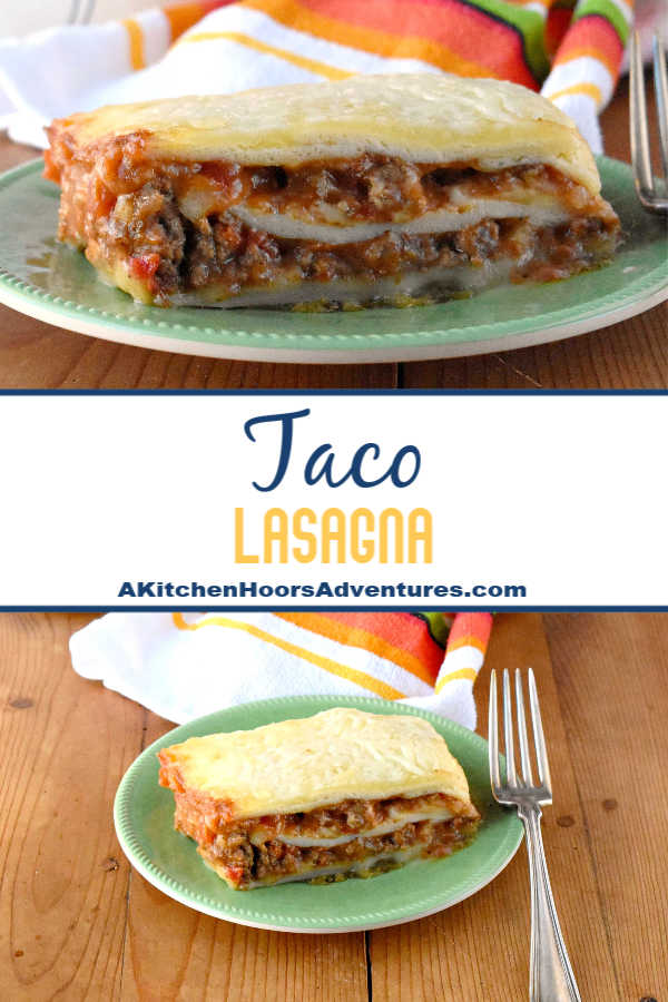 Delicious taco meat is combined with tomatoes and cheese soup before being sandwiched between layers of flour tortillas.  Taco Lasagna is the best of both worlds combining tacos and lasagna into one family friendly dish!