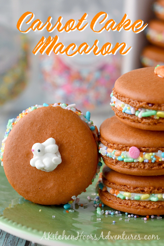 With carrot juice powder and spices in the shells, these Carrot Cake Macaron taste just like a carrot cake! The cream cheese buttercream filling helps bring the flavors home. The sprinkles are just because they're fun!