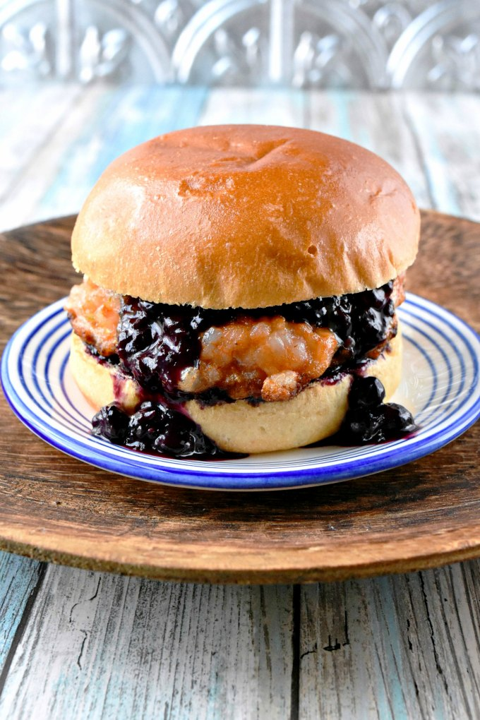 Thai Red Curry Shrimp Burger with Blueberry Chutney, as you can imagine, is packed with flavors! From the red curry sauce, the coconut milk, and cayenne in the burger to the blueberry sweet and savory chutney on top. It's a packed mouthful of burger happiness.