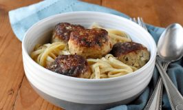 There's lemon zest in the meatballs and lemon juice in the sauce making these double lemony. Lemony Turkey Piccata Meatballs and Spaghetti turns the traditional dish into a fun and kid friendly dinner. #OurFamilyTable