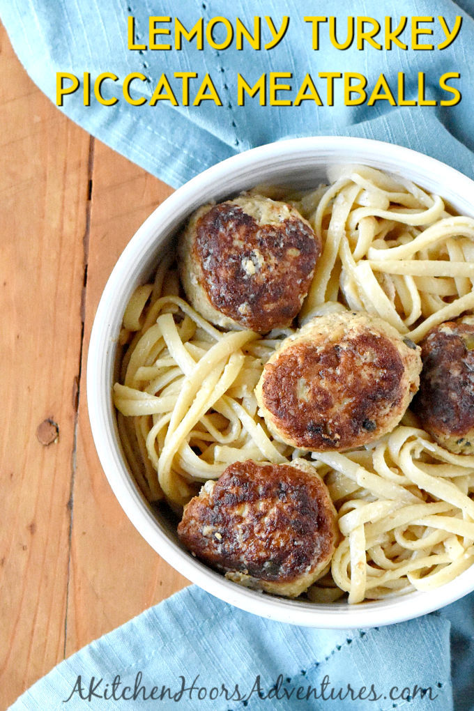 There's lemon zest in the meatballs and lemon juice in the sauce making these double lemony. Lemony Turkey Piccata Meatballs and Spaghetti turns the traditional dish into a fun and kid friendly dinner.