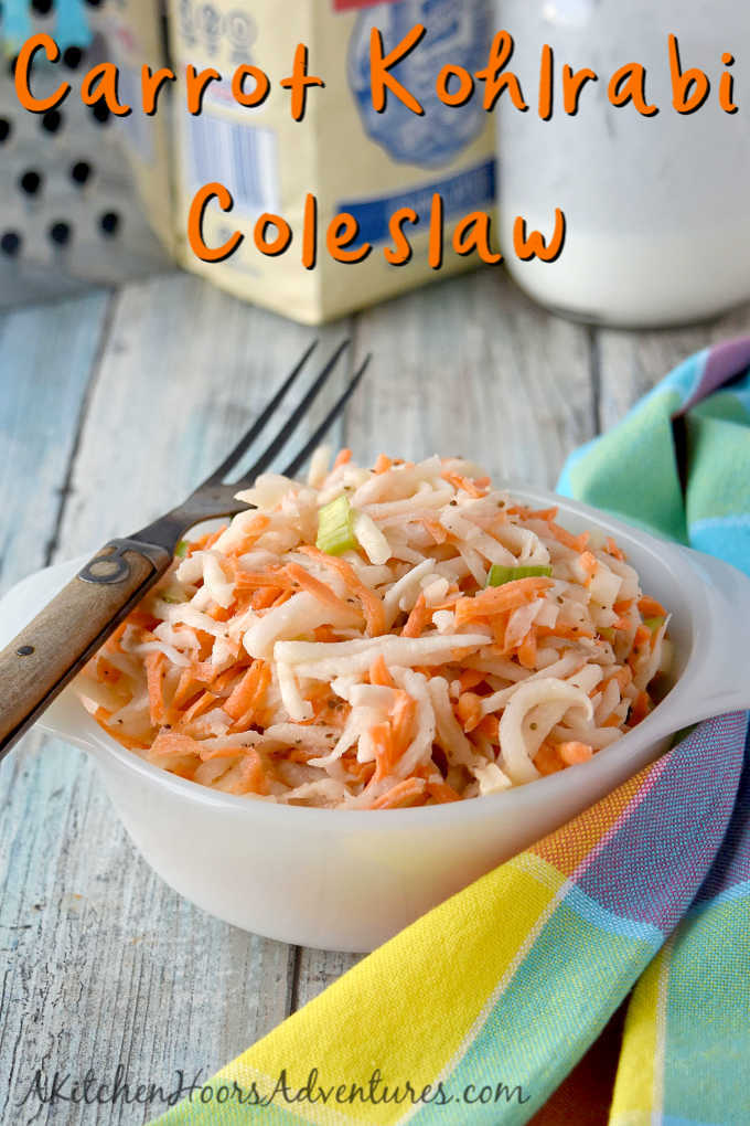 Swap out the cabbage in your slaw and try fresh and delicious kohlrabi.  Carrot Kohlrabi Coleslaw is super crunchy, has great flavor, and is the perfect twist on a southern classic picnic dish.
