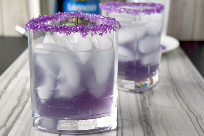 Lightening Lavender Margarita has the perfect ratio of sweet to sour with a hint of lavender flavor.  The lightening comes from the American whiskey combined with the tequila. #BrunchWeek