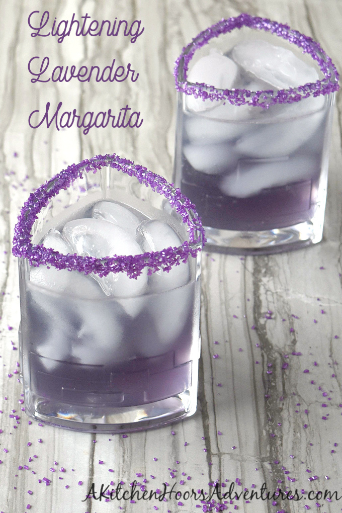 Lightening Lavender Margarita has the perfect ratio of sweet to sour with a hint of lavender flavor.  The lightening comes from the American whiskey combined with the tequila.