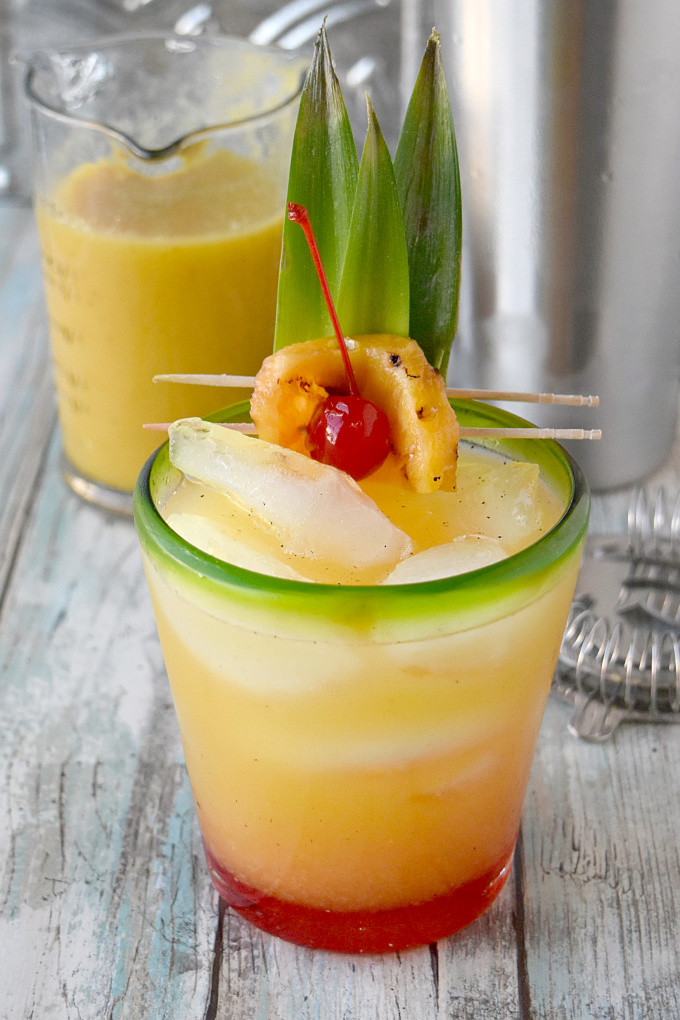 Grilling the pineapple adds a delicious, slightly smoky flavor to this tropical cocktail.  Grilled Pineapple Mai Tai is slightly sweet, slightly smoky, and oh so delicious. #BBQWeek