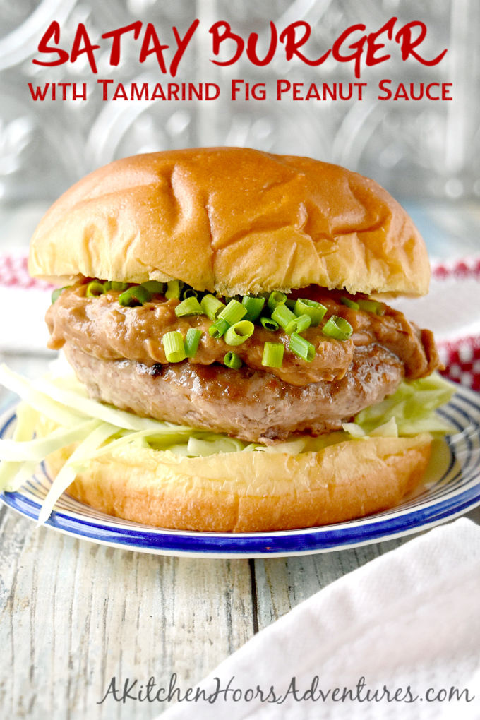 Satay Burger with Tamarind Fig Peanut Sauce has a juicy pork patty topped with a complex tamarind fig satay sauce that's irresistible! The sweet tamarind and fig is paired with the salty soy and oyster sauces with a kick of ginger. #BurgerMonth