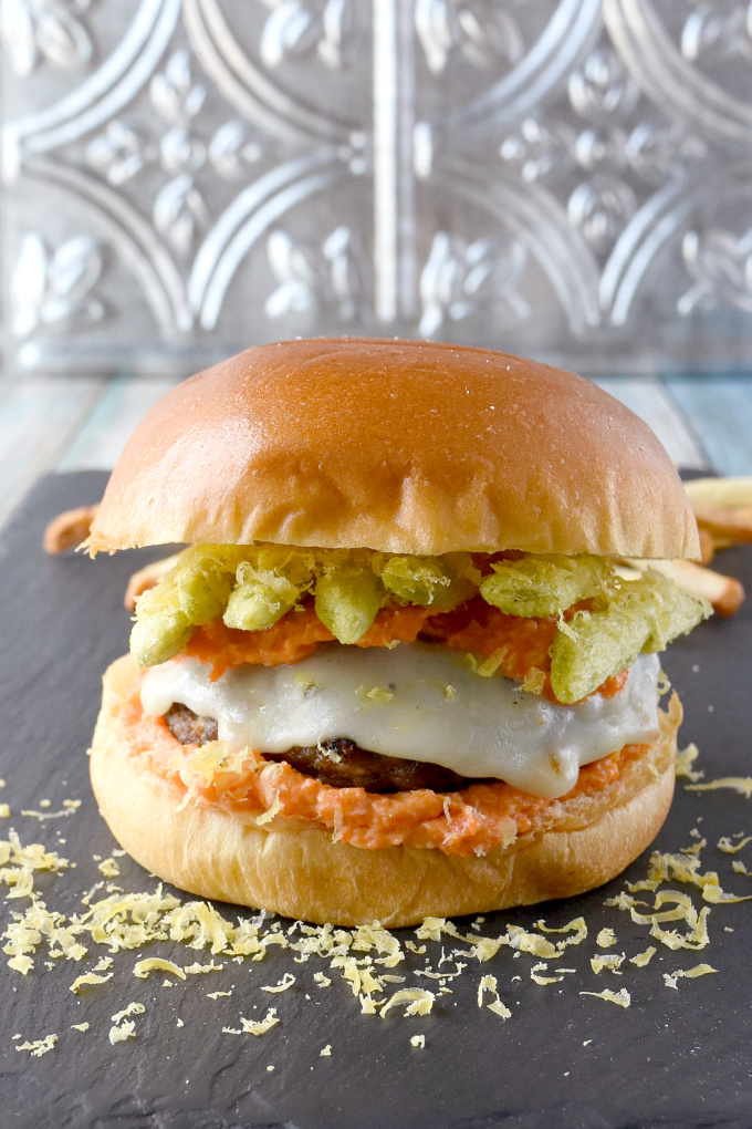 Rabbit Sausage Burger with Carrot Horseradish Aioli packs some serious flavors!  Inspired by a burger challenge, this is one stellar burger that tastes amazing. #OurFamilyTable