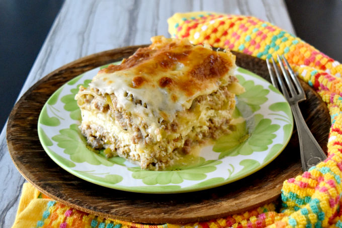 White Bolognese Lasagna has a depth of flavor you wouldn't expect. The creamy sauce is perfectly matched with the ricotta and noodles in this delicious dish.