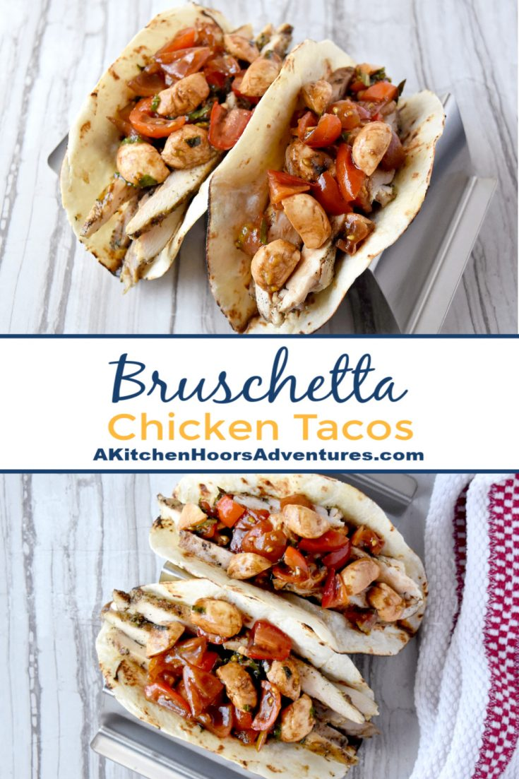 Market fresh tomatoes and basil make up the topping for Bruschetta Chicken Tacos. The Tuscan seasoned thighs and marinated Mozzarella add layers of delicious flavor you'll love! #FarmerksMarketWeek