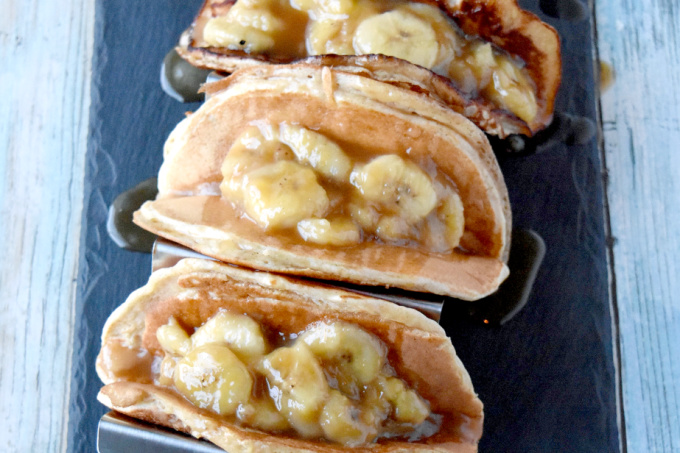 Using a protein rich pancake mix, these Pancake Tacos are full of flavor, energy, and delicious banana topping! They're perfect for breakfast or an after school/work pick me up. #BacktoSchoolTreats