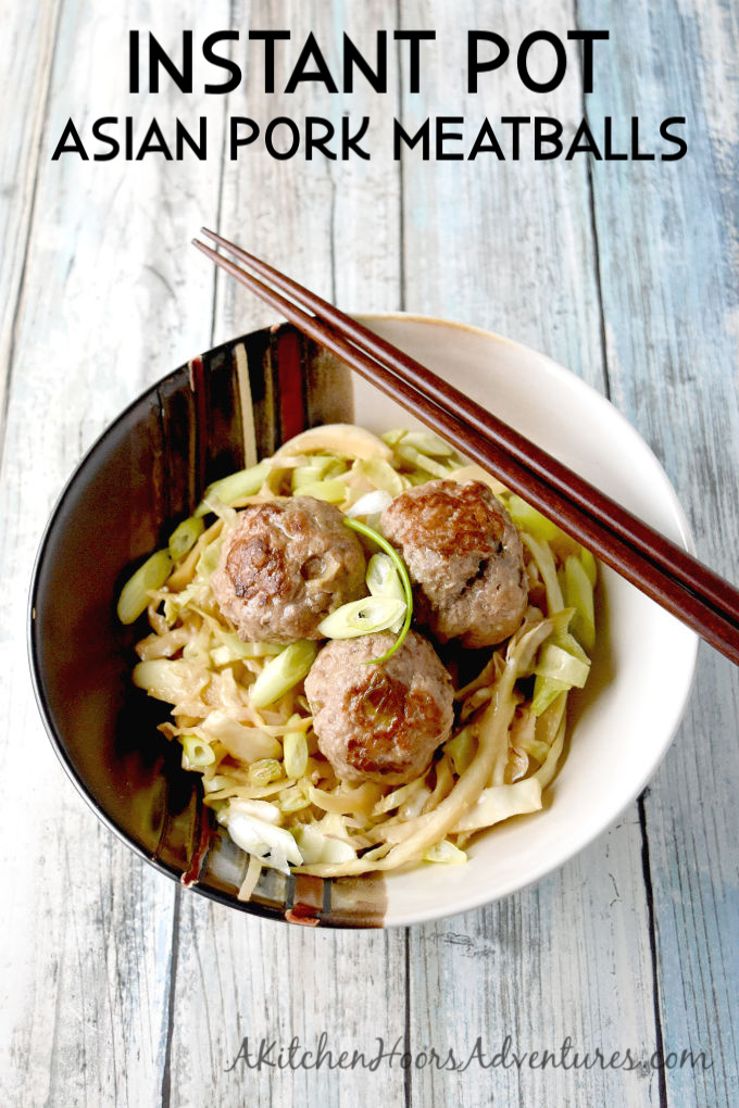 With all the flavors of a pork dumpling, Instant Pot Asian Pork Meatballs are a quick and tasty way to get that dumpling fix! #OurFamilyTable