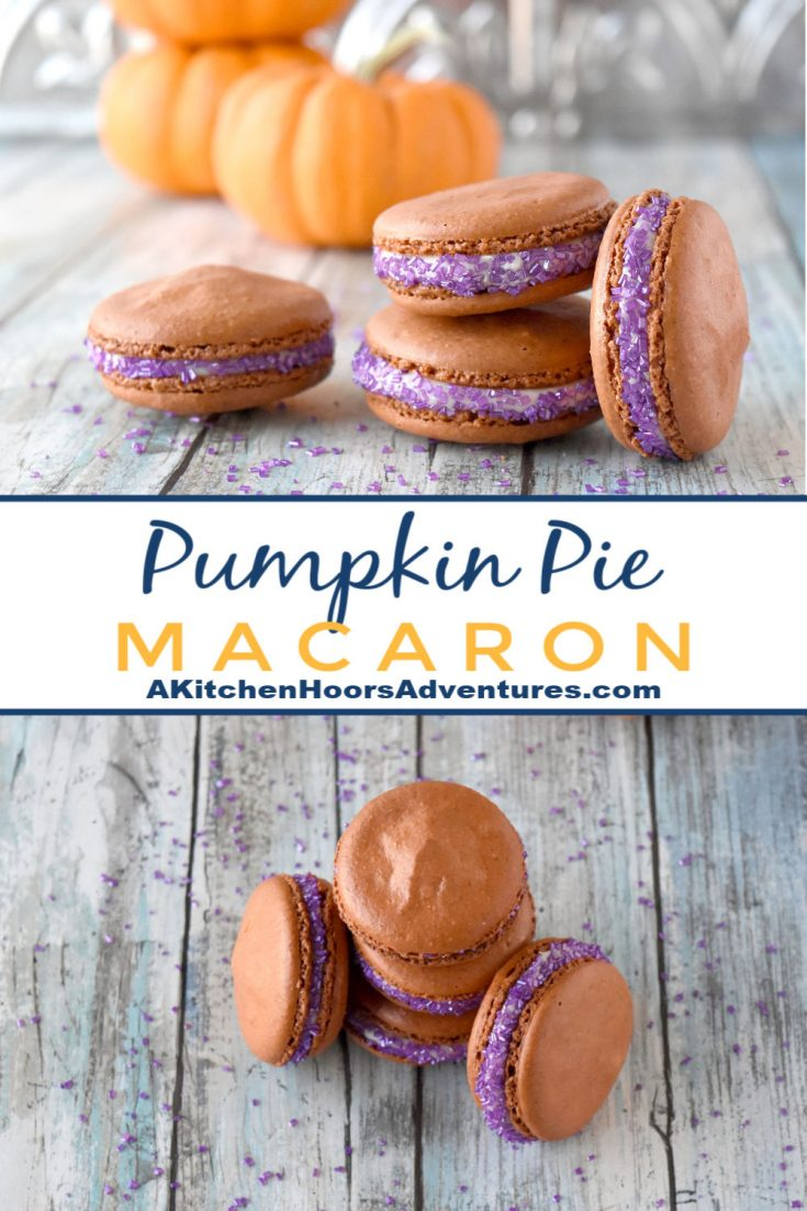 Pumpkin Pie Macaron actually taste like pumpkin pie!! Like a real pumpkin pie with rich pumpkin flavor thanks to ground pumpkin flour in the shells and the pumpkin pie syrup in the buttercream.