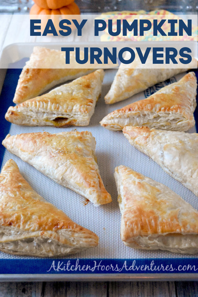 These Easy Pumpkin Turnovers are so easy, you can make them on a Friday evening after work.  When you're dead dog tired!  And they're made with 5 ingredients, too! #PumpkinWeek