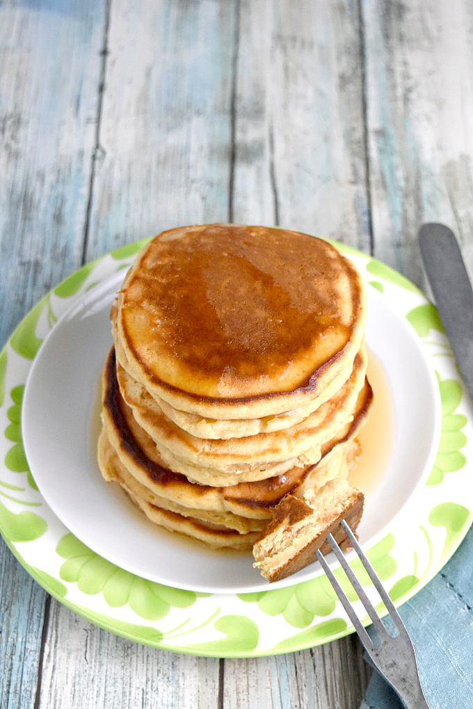 Easy Peanut Butter Pancakes with a bite on the fork