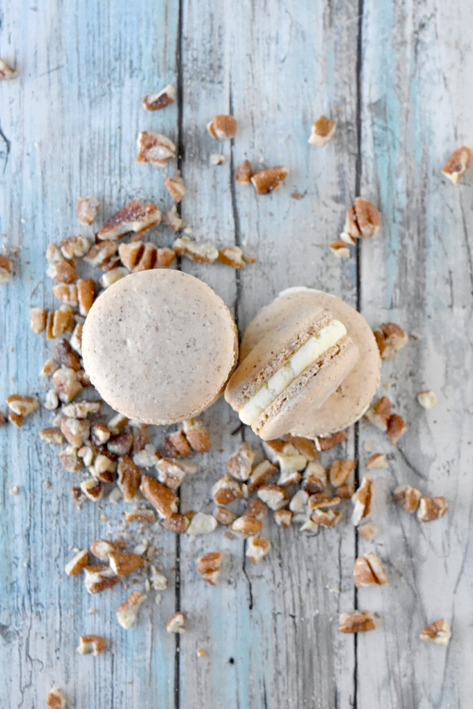 Butter Pecan Macaron have pecans in the shells and butter flavor in the buttercream. They were so good they VANISHED!! The intoxicating butter flavor with the sweet pecan shells are irresistible.