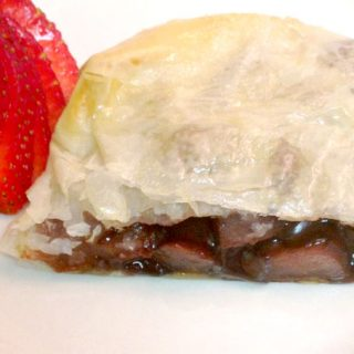Wine Poached Pear and Chocolate Strudel