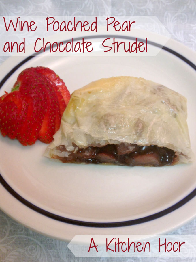 Wine Poached Pear and Chocolate Strudel is rich, delicious, and fairly simple to make. Your dinner guests will devour it just like we did.