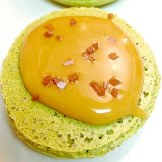 Rich pistachios pair with creamy, salted caramel in these irresistible Pistachio and Salted Caramel Macaron.