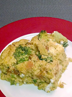 #MeatlessMonday Squash and Broccoli Goat Cheese Strata #CrazyIngredientChallenge