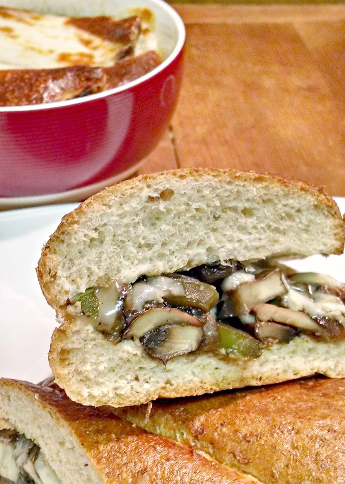 A Kitchen Hoor | Portobello Cheese Steak Sandwiches for #MeatlessMonday